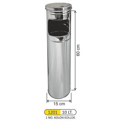Arı Metal Kolon Küllük Paslanmaz (A1201) Çöp Kovaları