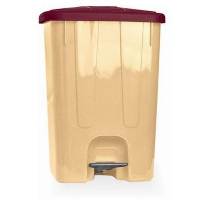 Arı Metal Plastik Pedallı Çöp Kovası 25 Lt Köşeli (7141) - Kahve - Bej Çöp Kovaları