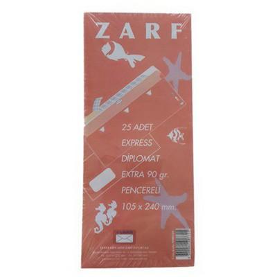 Yener Pencereli Diplomat Extra Beyaz Zarf 25`li 105 X 240 Mm 90 Gr Zarflar