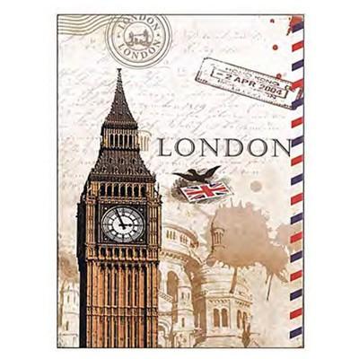 Vintage Label A4 London Plastik Esnek Kapaklı Not i 26x18 Cm Defter