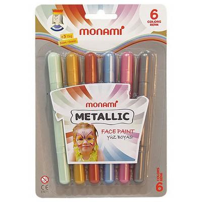 Monami Metallic Yüz Boyasi 6 Renk Resim Malzemeleri