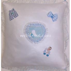 Handan Bebek Altın Takı Yastığı Beyaz Mavi-kalpli Kare Hatıra Ürünleri