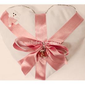 Handan Bebek Altın Takı Yastığı Beyaz Pembe-kalpli Kurdelalı Hatıra Ürünleri