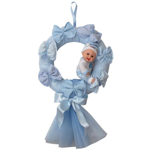 Handan Fiyonk Bebek Mavi Kapı Süsü