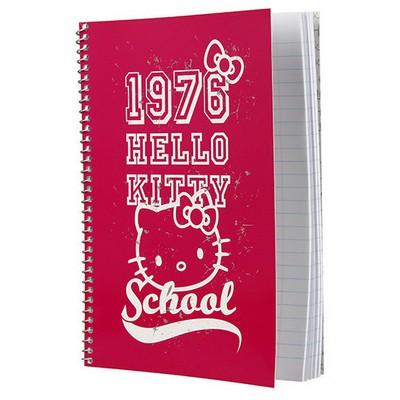 Hello Kitty A5 Çizgili Spiralli Okul Defteri 96 Yaprak Spiralli Defter