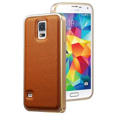 Microsonic Derili Metal Delüx Samsung Galaxy S5 Kılıf Kahverengi Cep Telefonu Kılıfı
