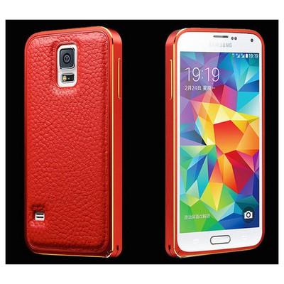 Microsonic Derili Metal Delüx Samsung Galaxy S5 Kılıf Kırmızı Cep Telefonu Kılıfı
