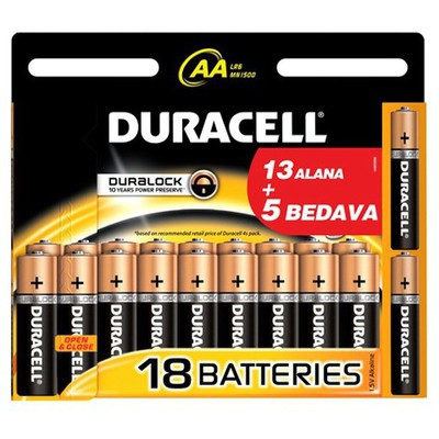 Duracell Aa Kalem Pil Alkalin 13+5 18 Adet Pil / Şarj Cihazı