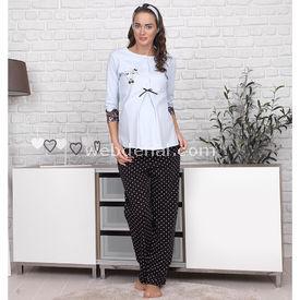 Haluk Baha Lohusa 2'li Pijama Takım Mavi Xl Gecelik & Pijama