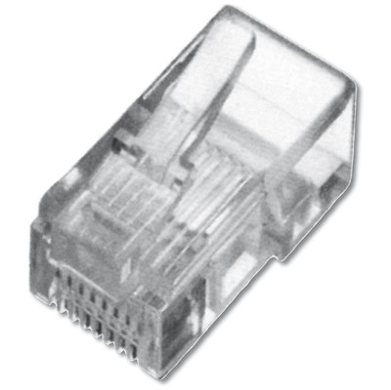Digitus A-MO-8-8-SR-100 Modüler Fiş, Cat. 5E, Rj45, 8P8C, Zırhsız (Unshielded), Yuvarlak Kablo Network Kablosu