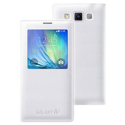Microsonic View Cover Delux Kapaklı Samsung Galaxy A7 Kılıf Akıllı Modlu Beyaz Cep Telefonu Kılıfı
