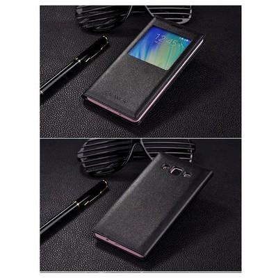 Microsonic View Cover Delux Kapaklı Samsung Galaxy A7 Kılıf Akıllı Modlu Siyah Cep Telefonu Kılıfı