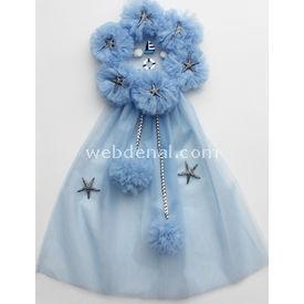 Handan Kapı Süsü Çelenk Mavi-yıldızlı Dekoratif Süs
