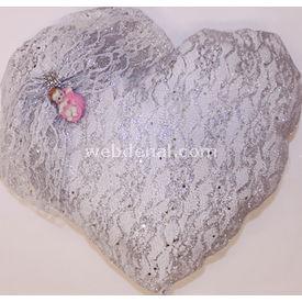 Handan Bebek Altın Takı Yastığı Gümüş Simli Bebek Kalp Pembe Hatıra Ürünleri