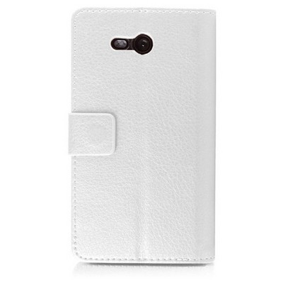 Microsonic Cüzdanlı Deri Nokia Lumia 820 Kılıf Beyaz Cep Telefonu Kılıfı