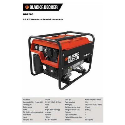 Black & Decker Bd2200 2.2kw Monofaze Benzinli Jeneratör