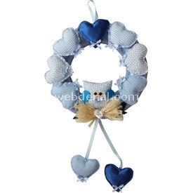 Handan Kapı Süsü Kalpli Baykuş Mavi Dekoratif Süs