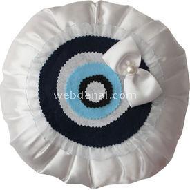 Handan Takı Yastığı Nazar Boncuğu Beyaz Süs & Takı Yastığı