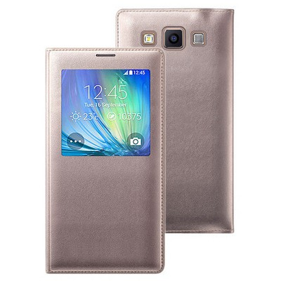Microsonic View Cover Delux Kapaklı Samsung Galaxy E7 Kılıf Akıllı Modlu Altın Sarı Cep Telefonu Kılıfı