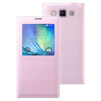 Microsonic View Cover Delux Kapaklı Samsung Galaxy E7 Kılıf Akıllı Modlu Pembe Cep Telefonu Kılıfı