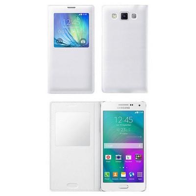 Microsonic View Cover Delux Kapaklı Samsung Galaxy E7 Kılıf Akıllı Modlu Beyaz Cep Telefonu Kılıfı