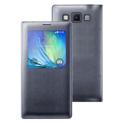 Microsonic View Cover Delux Kapaklı Samsung Galaxy E7 Kılıf Akıllı Modlu Siyah Cep Telefonu Kılıfı