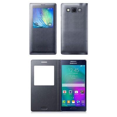 Microsonic View Cover Delux Kapaklı Samsung Galaxy E7 Kılıf Akıllı Modlu Siyah