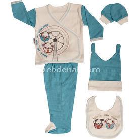 Bebengo 204 Lunapark Hastane Çıkış Seti 5li Turkuaz Erkek Bebek Hastane Çıkışı