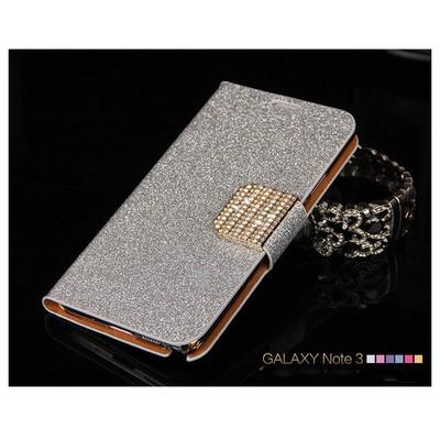 Microsonic Pearl Simli Taşlı Deri Samsung Galaxy Note 4 Kılıf Beyaz Cep Telefonu Kılıfı