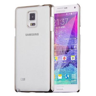 Microsonic Metalik Transparent Samsung Galaxy Note 4 Kılıf Gümüş Cep Telefonu Kılıfı