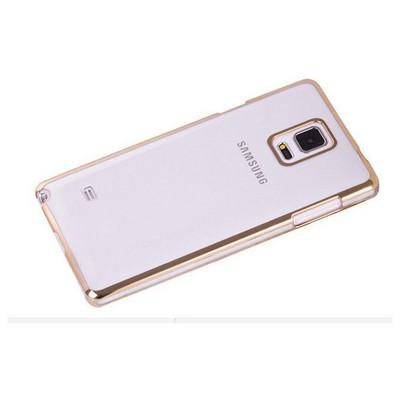 Microsonic Metalik Transparent Samsung Galaxy Note 4 Kılıf Altın Sarısı Cep Telefonu Kılıfı