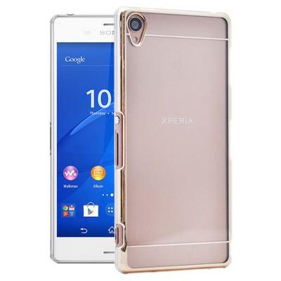 Microsonic Metalik Transparent Sony Xperia Z3 Kılıf Altın Sarısı Cep Telefonu Kılıfı