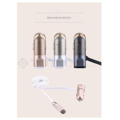 Microsonic Totu Design Breakneck Usb Araç Çakmaklık Şarj Cihazı & 2li Micro Usb Ve 8pin Lightning Kablo Grey Şarj Cihazları
