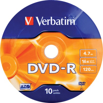 Verbatim 43729 Dvd-r 10 Wrap Matt Silver 16x 4.7gb CD/DVD