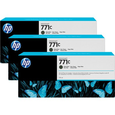 HP DesignJet 771C 3lü Kartuş (B6Y31A) - Mat Siyah