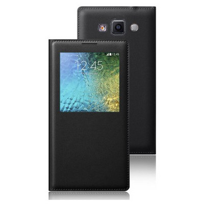 Microsonic View Slim Kapaklı Deri Samsung Galaxy E5 Kılıf Siyah Cep Telefonu Kılıfı
