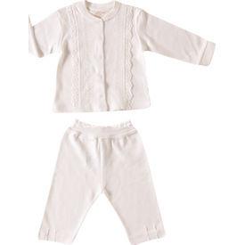 Aziz Bebe 2468 2li Bebek Takımı Ekru 9-12 Ay (74-80 Cm) Kız Bebek Takım