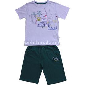 Aziz Bebe 2486 2li Takım Beyaz-yeşil 5 Yaş (110 Cm) Erkek Bebek Takım