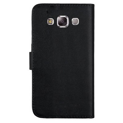 Microsonic Cüzdanlı Deri Samsung Galaxy E5 Kılıf Siyah Cep Telefonu Kılıfı