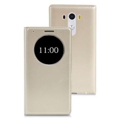 Microsonic View Slim Kapaklı Deri Lg G3 Mini (g3 S, G3 Beat) Kılıf Akıllı Modlu Altın Sarı Cep Telefonu Kılıfı