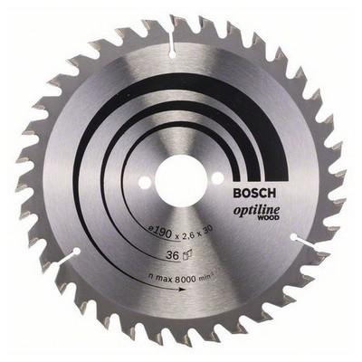 Bosch Optiline Serisi Ahşap İçin Daire Testere Bıçağı - 190 X 30 X 2,6 Mm, 36 Diş Makine Aksesuarı