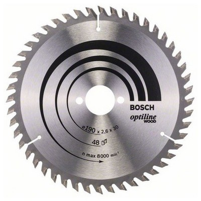 Bosch Optiline Serisi Ahşap İçin Daire Testere Bıçağı - 190 X 30 X 2,6 Mm, 48 Diş Makine Aksesuarı