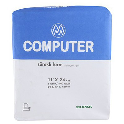 Mopak Sürekli Form Kağıdı 11 x 24 cm 1 Nüsha 60 gr 1000'li Özel Kağıt