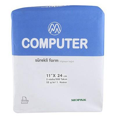 "Mopak Sürekli Form 11"" x 24 cm 2 Nüsha Düz 500'lü Özel Kağıt"