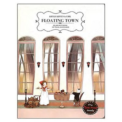 Vintage Label A5 Floating Town Not i Defter
