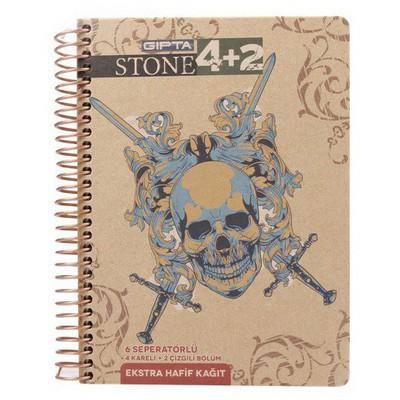 Gipta 2401 Stone 17x24 Cm Sert Kapak 6 Seperatörlü 4+2 150 Yaprak D.. Spiralli Defter