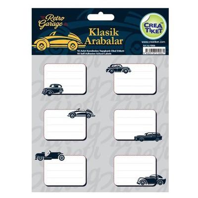 Crea Tiket Creatiket 1006 Klasik Arabalar Serisi Okul Etiketi