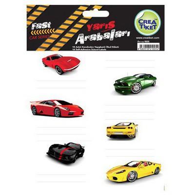 Crea Tiket Creatiket 1005 Yarış Arabaları Serisi Okul Etiketi Okul Etiketleri
