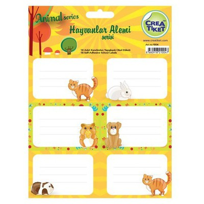 Crea Tiket Creatiket 1004 Hayvanlar Alemi Serisi Okul Etiketi Okul Etiketleri
