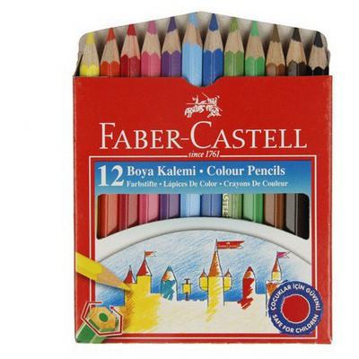 Faber Castell Karton Kutu Boya Kalemi 12 Renk Yarım Boy Resim Malzemeleri